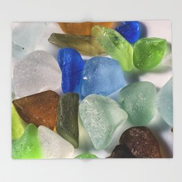 Colorful New England Beach Glass Throw Blanket