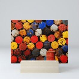 Gasoline Rusty Tin Cans Pattern Mini Art Print