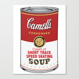 Camell's Soup CREAM OF SHORT TRACK SPEED SKATING Pop Art Canvas Print