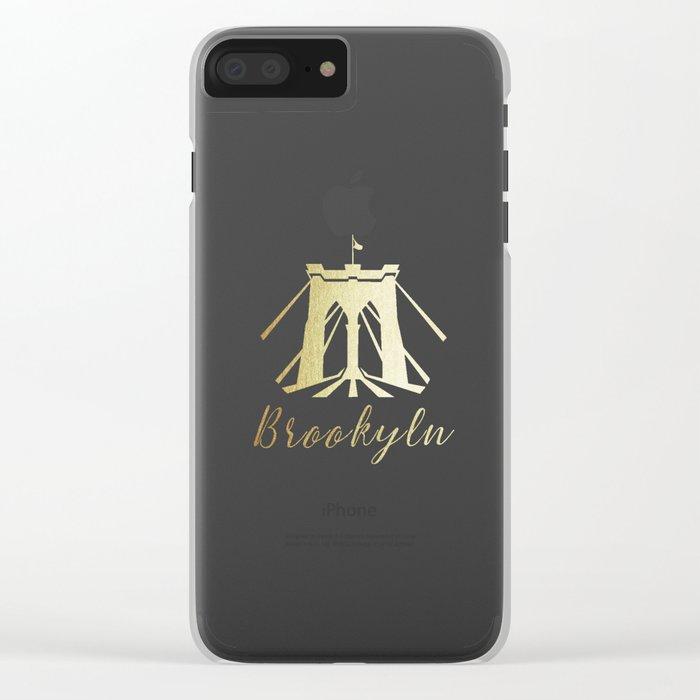Brooklyn Bridge in Gold Clear iPhone Case