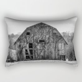 Camouflage - Old Barn Covered in Vines in Missouri in Black and White Rectangular Pillow