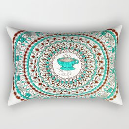 Cafe Expresso Teal, Brown, and White Mandala Rectangular Pillow