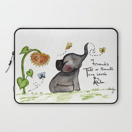 Friends are Loved by All - Baby Elephant Sunflower Butterflies Art by Annette Bailey Laptop Sleeve