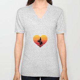 I Love Shopping Retro Sunset Heart Unisex V-Neck