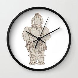 War Elephant Mahout Rider Drawing Wall Clock