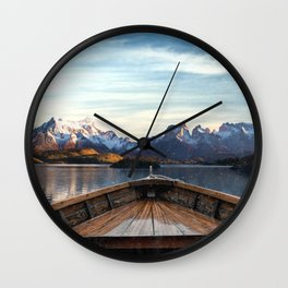 Torres del Paine National Park Chile, The Boat in Patagonia Wall Clock