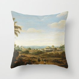 Landscape on the Rio Senhor de Engenho, Brazil, Frans Jansz Post, 1670 - 1680 Throw Pillow