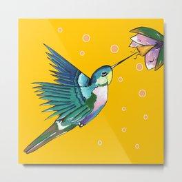 Hummingbird Yellow Metal Print