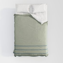 Muted Aqua and Green Line Pattern 2021 Color of the Year Aegean Teal & Salisbury Green  Comforters