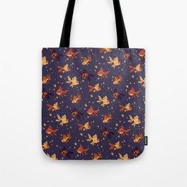 Purple Goldfish Pattern Tote Bag