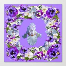 SPRING LILAC PURPLE PANSY FLOWERS & WHITE IRIS PATTERN Canvas Print