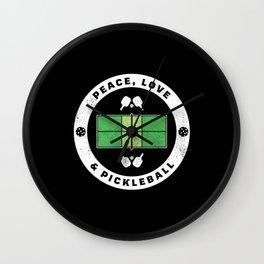 Peace Love & Pickleball Pickle Ball Gift Wall Clock