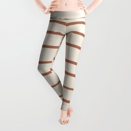 Inspired By Cavern Clay Sw 7701 Hand Drawn Thin Horizontal Lines on Creamy SW7012 Leggings