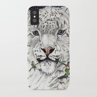 snow leopard iPhone & iPod Cases featuring Snow Leopard by Shelli Graham