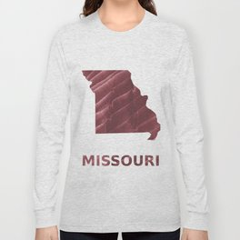 Missouri map outline Burgundy stained wash drawing picture Long Sleeve T-shirt