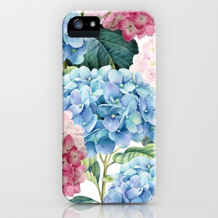 Pink Blue Hydrangea iPhone Case