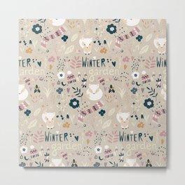 Winter garden pattern 004 Metal Print