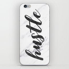 Hustle Text on Marble Black and White iPhone Skin