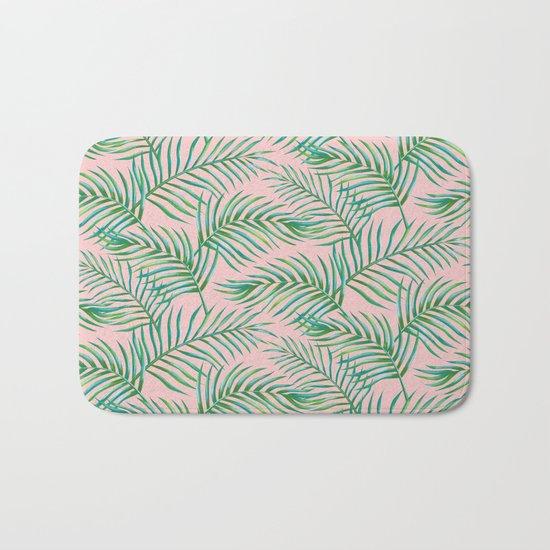 Palm Leaves_Bg Rose Quartz Bath Mat