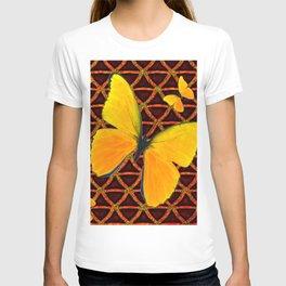 YELLOW BUTTERFLIES BROWN ART T-shirt
