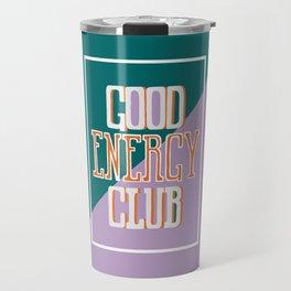 Good Energy Club- turquoise, orange, and lavender Travel Mug