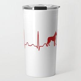 Boxer Dog Heartbeat Travel Mug