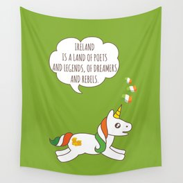 St. Patrick's Day Unicorn 3 Wall Tapestry