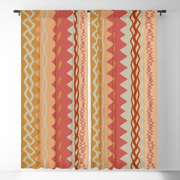 Assorted Zigzags And Waves Sienna Peach Grey Blackout Curtain