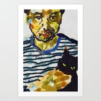 murakami Art Prints featuring haruki murakami by Basma