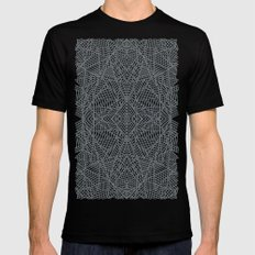Ab Lace Black and Grey Black Mens Fitted Tee MEDIUM