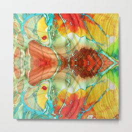 Red And Yellow Abstract Art - A Strong Finish - Sharon Cummings Metal Print