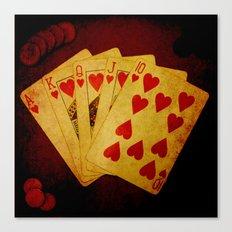 Escalera Real de Corazón (Dirty Poker) Canvas Print
