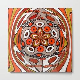 Textile Arcs Red Metal Print