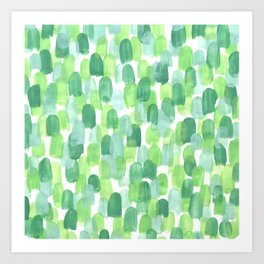 Green  and White Abstract Gouache Brushstrokes Painting Art Print