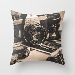 Vintage Asahi Pentax camera Throw Pillow