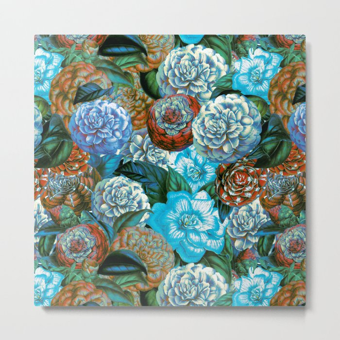 Vintage & Shabby - blue floral camellia flowers watercolor pattern Metal Print