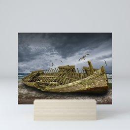 Boat Shipwreck on the Beach Shore Mini Art Print