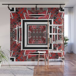 NUMBER 221 RED BLACK GRAY WHITE PATTERN Wall Mural