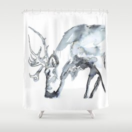 Watercolor Reindeer Sketch Shower Curtain
