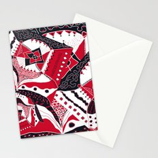 TRICHROMATIC DELIRIUM RED BLACK WHITE Stationery Cards