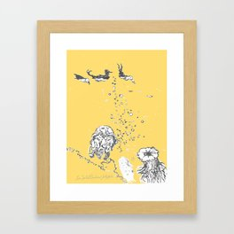 Two Tailed Duck and Jellyfish Pale Yellow Mellow Framed Art Print