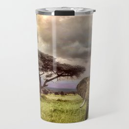 Elephant Landscape Collage Travel Mug