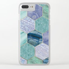 Gold trimmed seafoam hexagons Clear iPhone Case