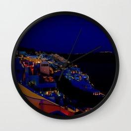 Oia, Santorini at Dusk. Wall Clock