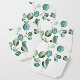 Eucalyptus leaves, illustration, botanical Coaster