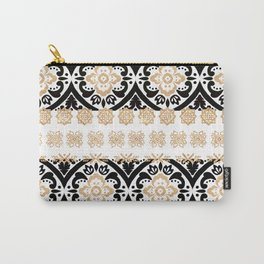 Elegant black faux gold chic glitter floral motif Carry-All Pouch