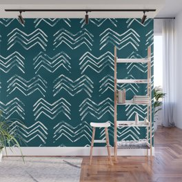 Tropical Dark Teal Inspired by Sherwin Williams 2020 Trending Color Oceanside SW6496 Tribal Chevron Pattern Wall Mural