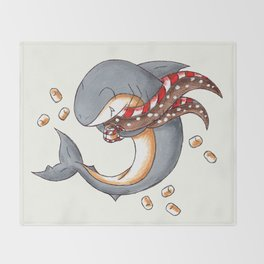 Hot Cocoa Shark Throw Blanket