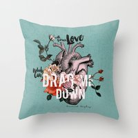 coconutwishes Throw Pillows featuring Drag Me Down by Coconut Wishes