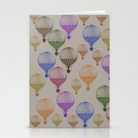 hot air balloons Stationery Cards featuring Colorful Hot Air Balloons by Zen and Chic